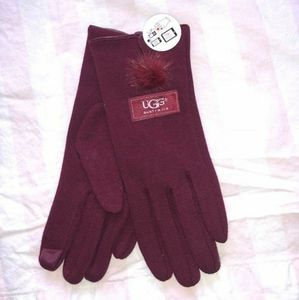 Red ugg pom pom tech gloves